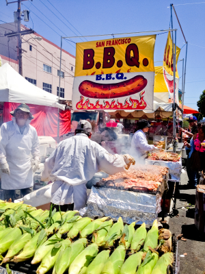 San Francisco B.B.Q, cooked  outdoors during Carnaval Festival