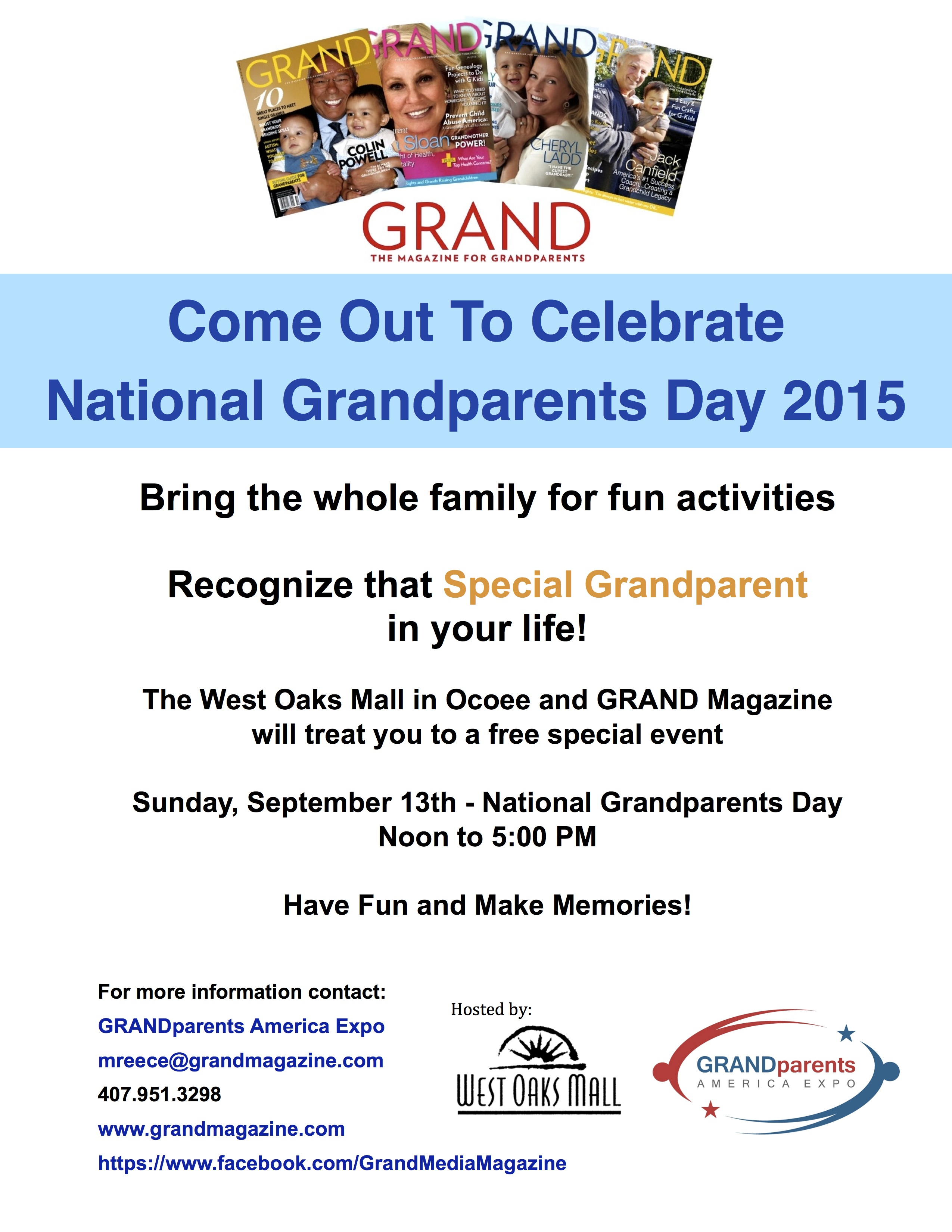 Come out to celebrate National Grandparents Day 2015
