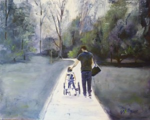 Janet Harrold's painting of son Tom and granddaughter Hailey