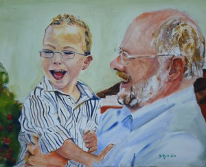 Painting of grandfather & grandson, by Janet Harrold