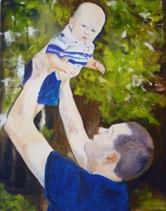 Father & son, painting by Janet Harrold