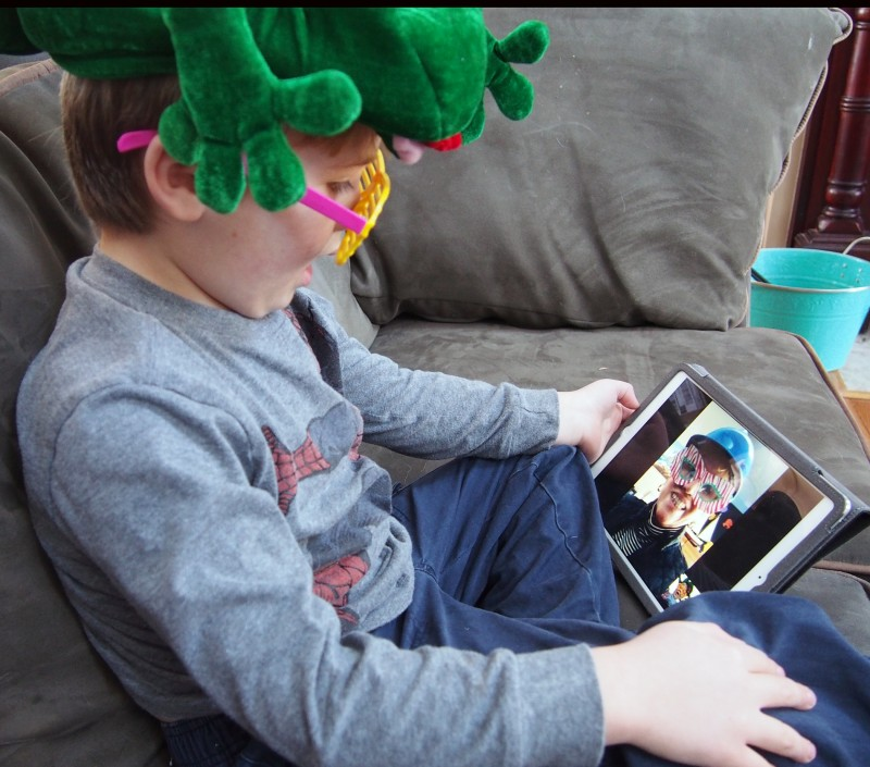 Grandson enjoying Facetime with Grandmother