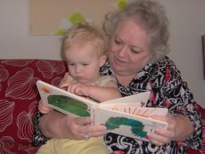 Grammy reading to her grandkid