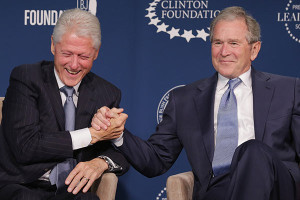 President George Bush Gives President Bill Clinton Some Friendly Grandpa Advice
