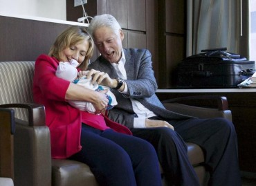 Bill & Hillary Clinton Welcome New GRANDbaby