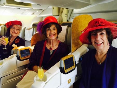 Red Hatters Marilyn Waltz, Linda Murphy & Linda Bremer