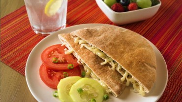 Healthy Recipes Your Grandkids Will Actually Eat: Baked Pita with Cheese, Tomatoes and Cucumbers