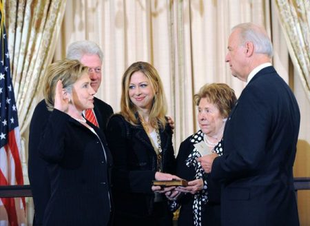 Hillary being sworn in as Secretary of State