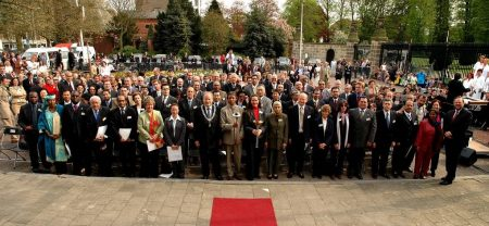 2004 opening of the World Peace Pathway around monument of the World Peace Flame in front of Peace Palace The Hague. Ambassadors of the 199 countries that contributed a stone to the Pathway were present and signed a Statement of Peace.