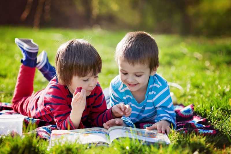 two boys reading on grass
